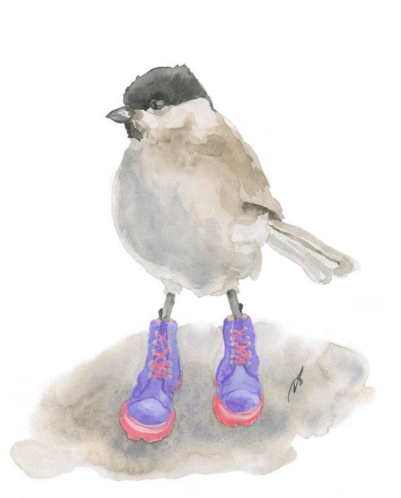 Bird in Purple Boots Fine Art Print 6 1/2 x 7 1/2 inches