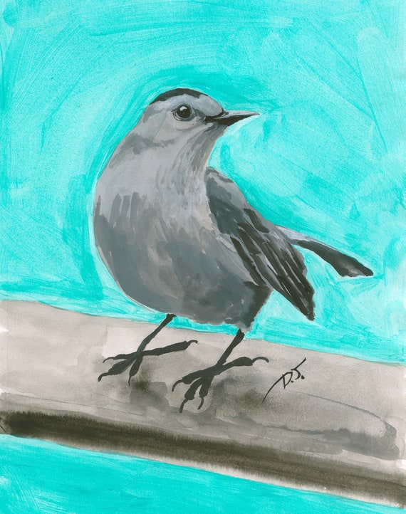 Grey Bird Turquoise Sky Fine Art Print 5 x 7 Inches