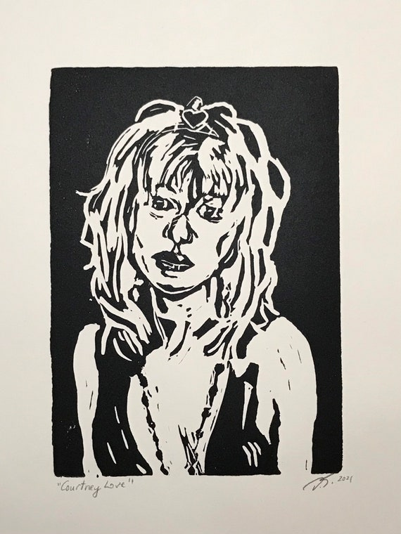 Courtney Love Inspired Linocut Block Print on 100% Cotton Arches Paper