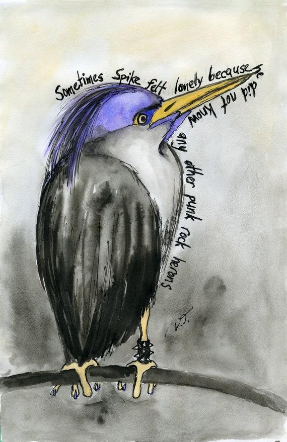 Punk Rock Heron Fine Art Print 5 x 7 Inches