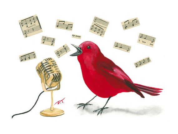 Singing Red Songbird With Gold Microphone Fine Art Print 5 x 7 Inches