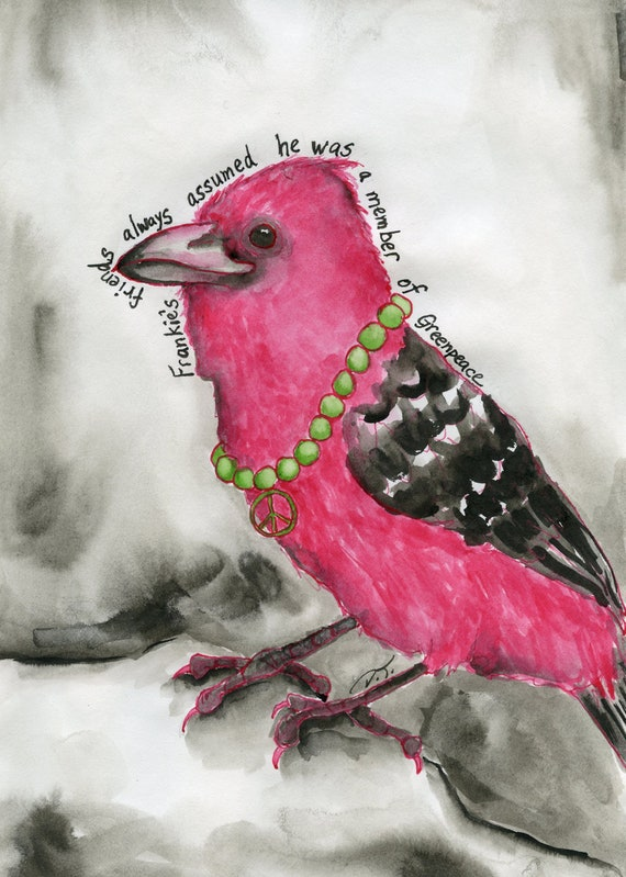 Pink Bird with Peace Sign Fine Art Print 5 x 7 Inches