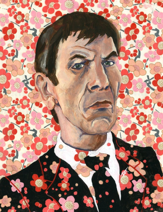 Leonard Nimoy Inspired Painting With Flowers Fine Art Print 5 1/2 x 7 inches