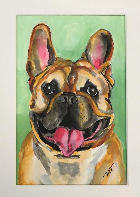 French Bulldog Original Acrylic Ink Painting 6 x 8 Inches