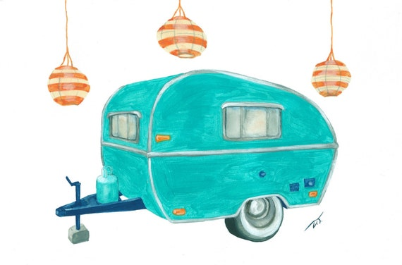 Turquoise Camper Trailer With Paper Lanterns Fine Art Print 6 x 8 Inches