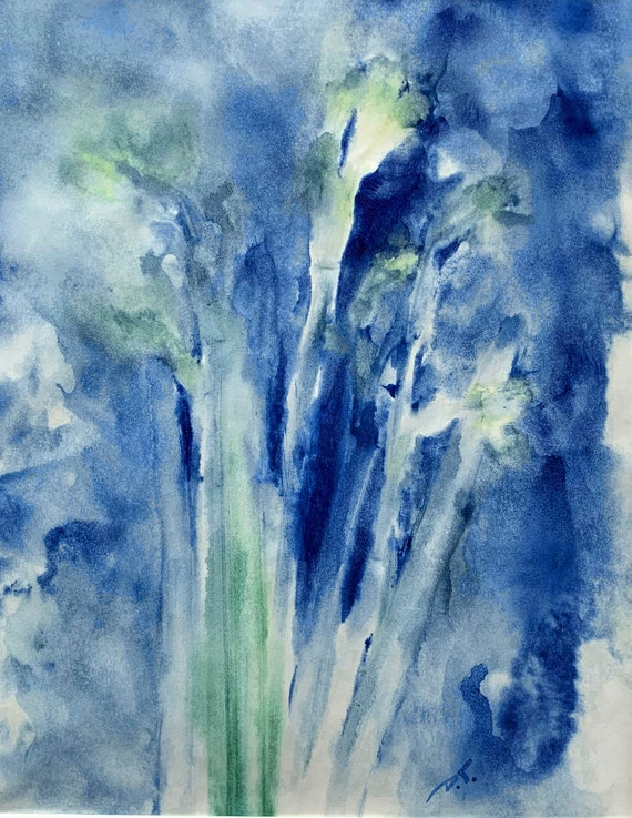Bouquet Monoprint Blue With Green Original Artwork 8 x 10 Inches