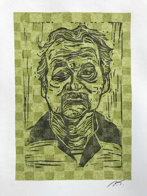 Bill Murray Inspired Linocut Block Print on Olive Green Checkered Japanese Tissue Paper Mounted on Acid Free Paper