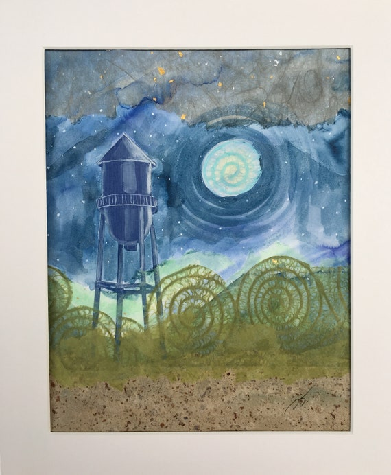 Water Tower Mixed Media Original Artwork 8 x 10 Inches
