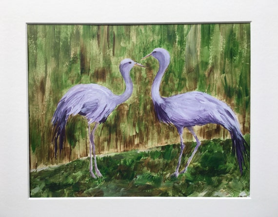 Stanley Cranes at Smithsonian Zoo 8 x 10 Inches Original Acrylic Painting
