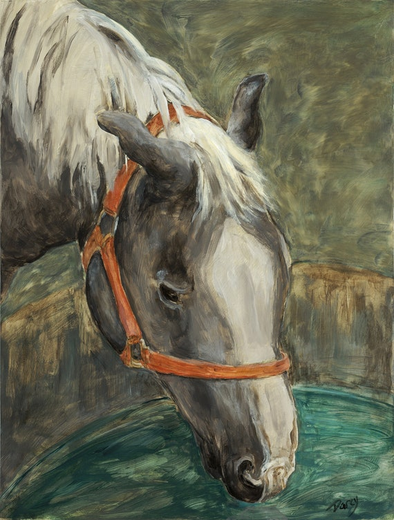 Horse Drinking 8 x 10 Inches Fine Art Print
