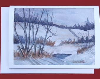 Holiday greeting card christmas card winter solstice card etsy greeting card holiday card christmas card winter solstice card winter watercolor landscape m4hsunfo