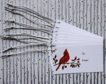 "Christmas Gift Tags - Holiday Gift Tags - Cardinal Gift Tags - Set of 10 Tags, Size 2"" x 3.5"""