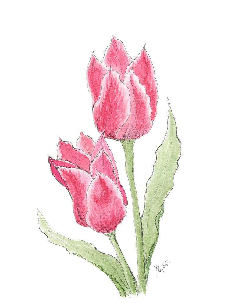 Floral Art Print Flower Art Print Tulip Print Wall Art Etsy