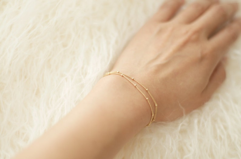 Dainty Double-Layer Satellite Chain Gold Bracelet image 0