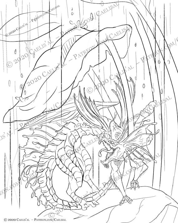 Fire Fae-Dragon: Coloring Book Page Caelis'al Wonders Etsy