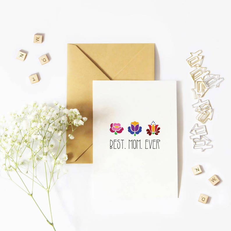 Best Mom Ever Card Mothers Day Card with Floral Pattern image 0