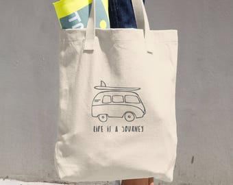 Life is a Journey Canvas tote bag. Kombi bag.
