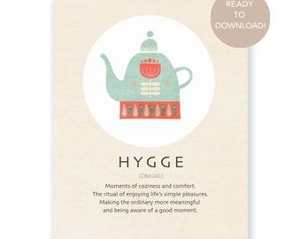 Hygge Scandinavian Wall art, Hygge definition print, Scandinavian decor, Hygge poster, Scandinavian lifestyle, Danish art, Danish decor.