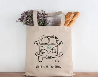 Never Stop Exploring canvas tote bag, Kombi gift.