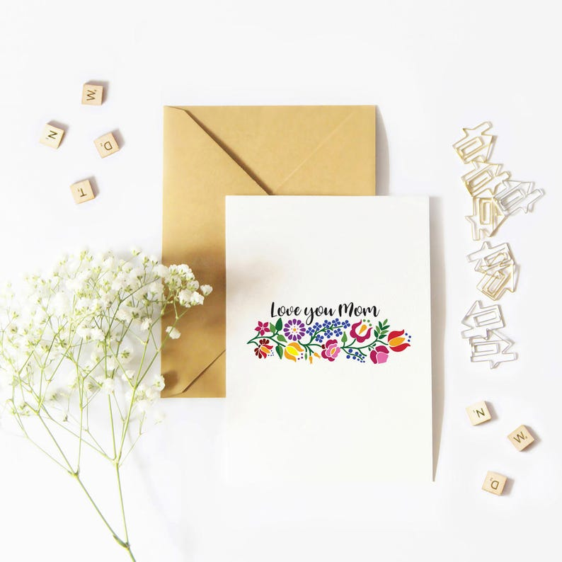Love You Mom Card Mothers Day card Instant download greeting image 0