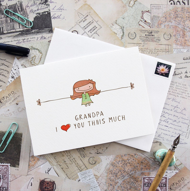 Grandpa greeting card I love you this much gift for grandpa image 0