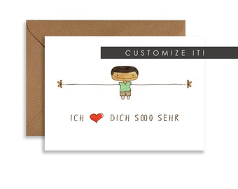 "Custom greeting card, love Thiiis Much, cute gift for him 5""x7"" card, boy hand drawn, personalized greeting card in any language"