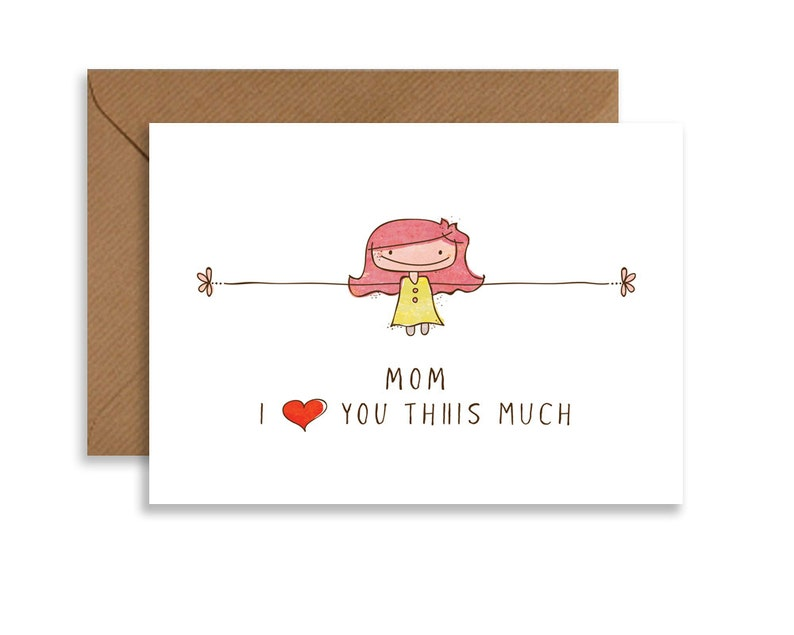 I love you mom greeting card I love you Thiiis Much cute image 0
