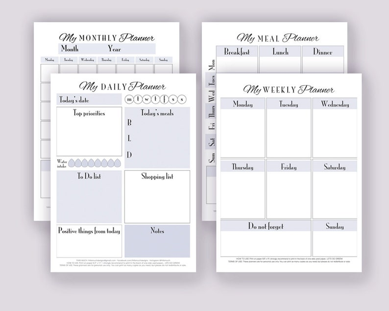 Printable Everyday Planners PDF Letter & A4. Daily Weekly image 0
