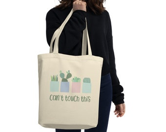 Succulent canvas tote bag, Cactus bag.