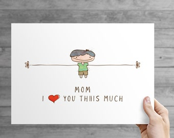 Mothers day personalized gift, Gift for Mom, Mom I love you this much wall art, printable wall art.