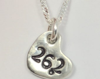 26.2 Boston Marathon necklace, Gift for Marathon participant, Marathon necklace, Heart with 26.2 stamp
