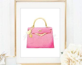 06b4ffd681ad ... discount code for hermes berkin print wall art pink handbag watercolour  luxury pet lover bag fashion