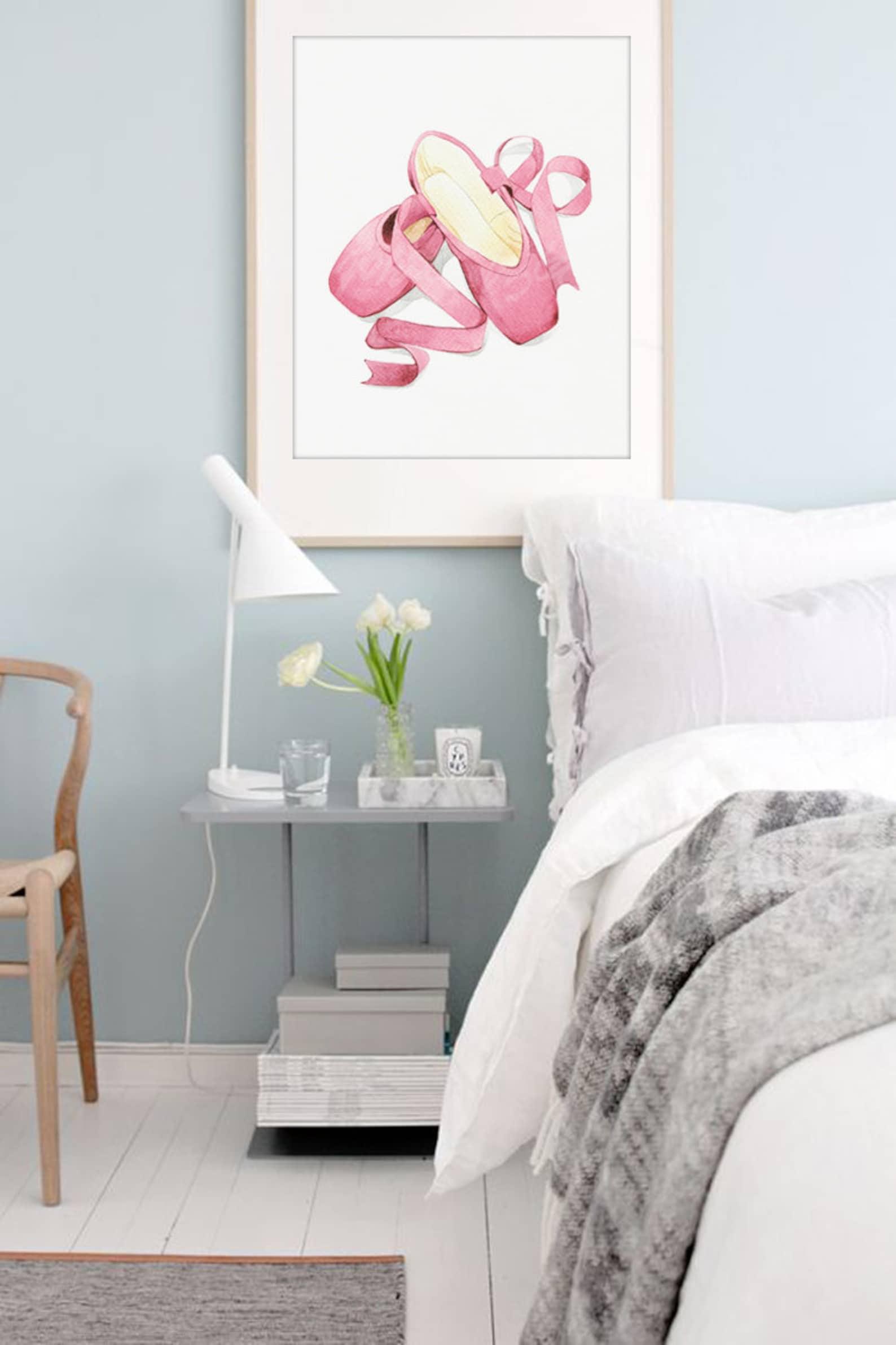 ballet decor, ballet shoes water color art prints, pink ballerina illustration, fashion decor, nursery art print digital downloa