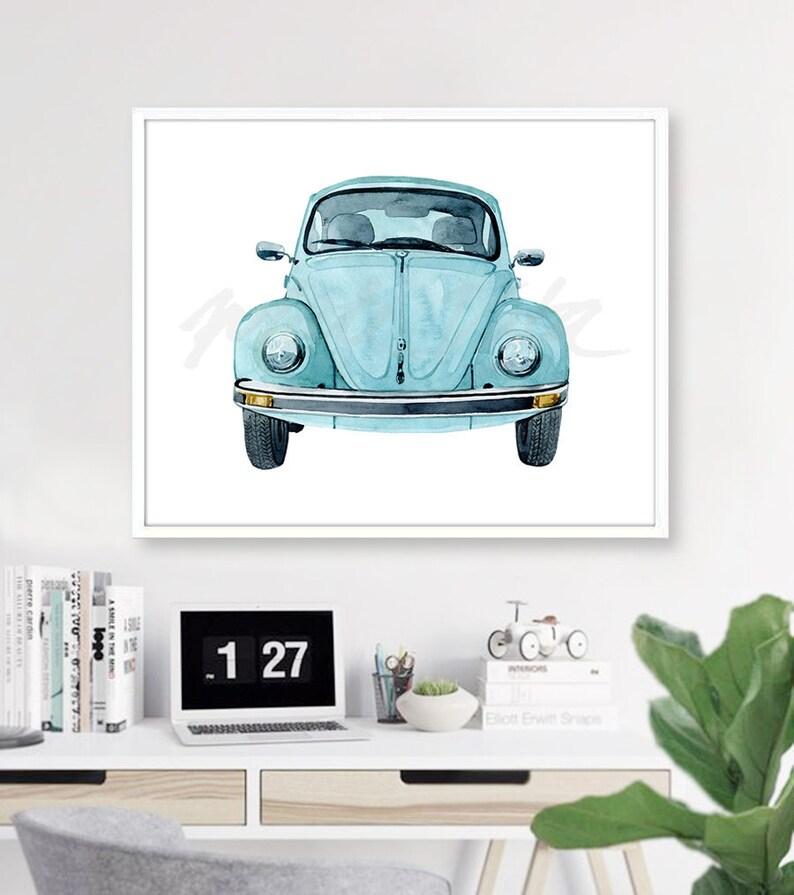 Blue Beetle Car Art Print Vintage Watercolour Painting Etsy