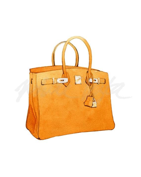 ... greece hermes berkin print wall arts orange handbag watercolour luxury  bag lover fashion illustration painting home d1ab75e72f684