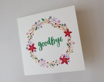 Flower Wreath Goodbye Card