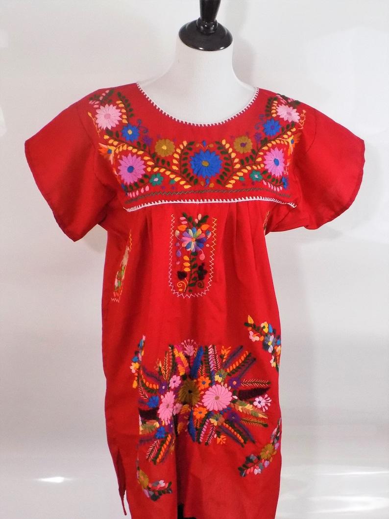 9a866cc1b Vestido mexicano bordado vestido boho mexicano vestido