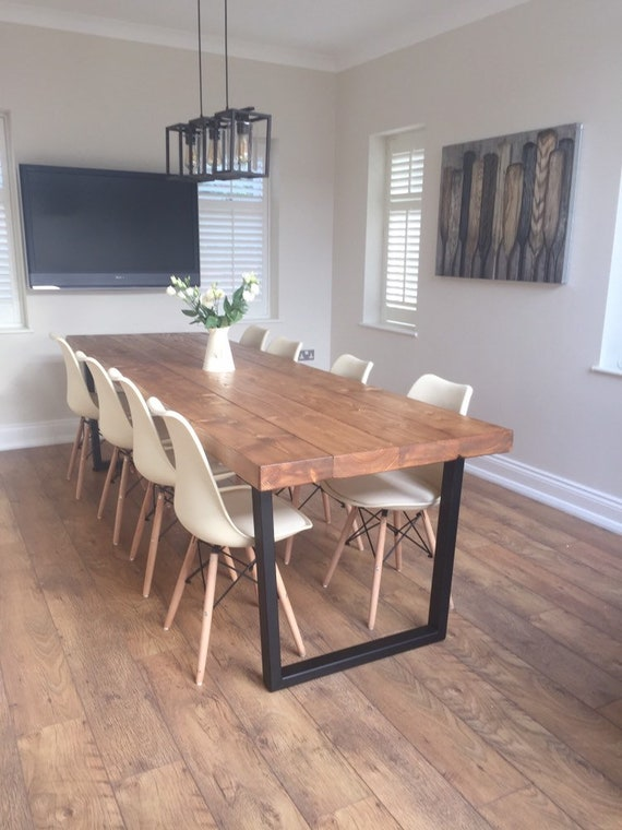 Industrial reclaimed Wood look sleeper dining table on trapezium legs 65mm  thick top trapezium metal legs John Lewis Calia