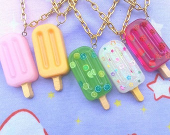 Funfetti Popsicle Ice Cream Charm Popsicle Charm Mint Chocolate Chip Popsicle Strawberry Popsicle Popsicle Necklace Miniature Food