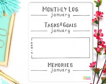 Monthly Log • Tasks & Goals • Monthly Memories • Minimalism Planner 2017 • Bullet Journal Stickers • Personal Planner Headers • BuJo Sticker