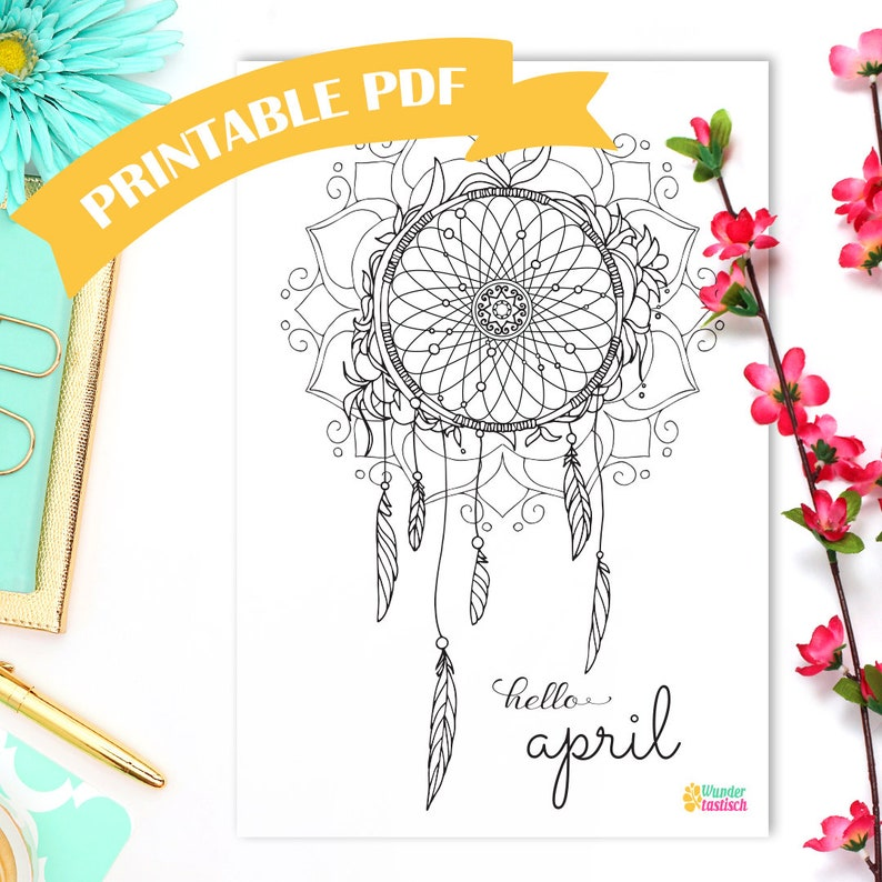 photo regarding Legend of the Dreamcatcher Printable known as Printable Dreamcatcher Coloring Web site Regular Bullet Magazine Printables  Hi April Grownup Coloring Site Bohemian Printable Boho PDF