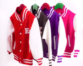 Varsity jacket / Kids Personalised Varsity Jacket / kids letter man jacket / team wear / dance wear