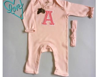 Appliqué Romper / inital on clothing / name on baby clothes / baby girl / baby personalised / personalised girl / personalized romper