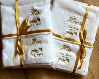 Wedding Towels / Newly weds gift / personalised wedding / personalised wedding gift