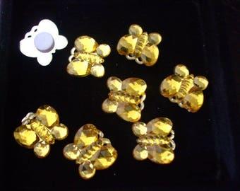 Cabochons 15 mm yellow rhinestone butterflies acrylic