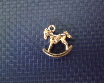 Pendant or charm 15 mm x 15 mm antique silver rocking horse