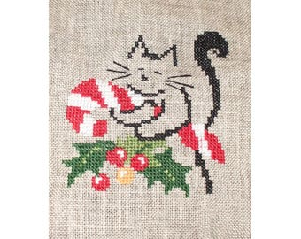 (Sewing, embroidery, linen) Christmas cat cross stitch Embroidery