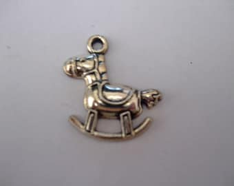 Pendant or charm 22 mm x 23 mm antique silver rocking horse
