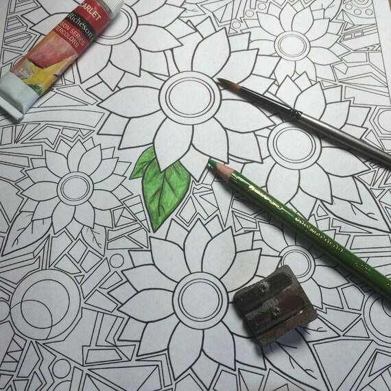 Mosaico de flores para imprimir para colorear página descarga | Etsy