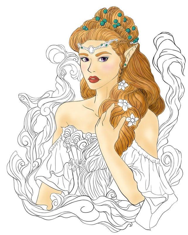 Fantasy Elf Princess Digital Coloring Page